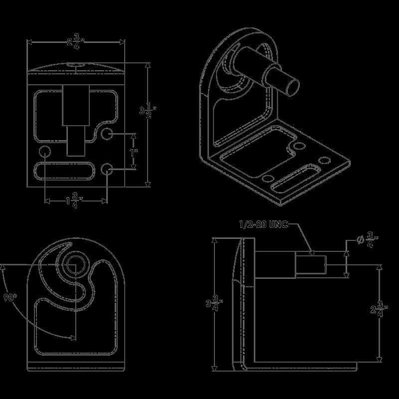 Taco Marine Hinged Port Armrest Bracket Seating Hardware K10-0001L