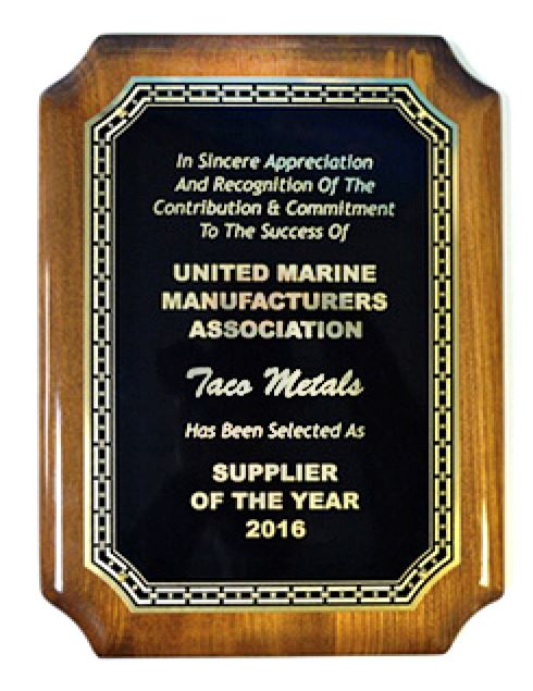 TACO Metals Receives United Marine Manufacturers Association Supplier of the Year Award