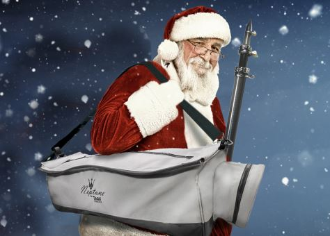 Santa picks his favorite bag and pole.